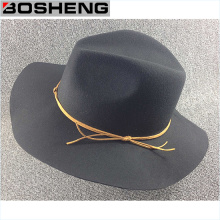 Fashion Gray Flat Floppy Wool Hat with Yellow Line