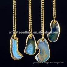 Alibaba express оптовые позолоченные цепи мода драгоценный камень природный камень друзы кристалл кулон ожерелье для женщин