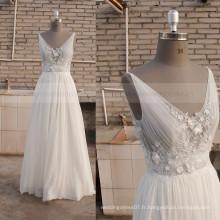 Pretty A-line Sexy Back Fleurs artisanales Sequins Chiffon Bohemian robe de mariée
