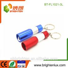 Vente en gros Prix à bas prix Custom Made Colorful 3 * LR44 bouton cellulaire Aluminium Matal 3 Led Bouteille Ouverture Keychain Mini leds lampes de poche