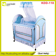 New Light Blue Baby Crib , Inner cradle with mosquito net removable bed rail and side board