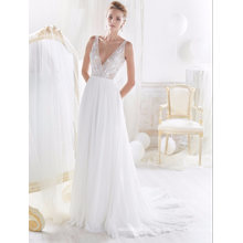 Spaghetti Lace Chiffon A Line Evening Bridal Wedding Gown