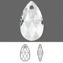 Colgante transparente con facetas 22x13mm, colgante de cristal con lágrima