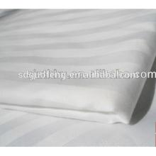 Tela de cama blanca de la tela de la raya del satén de la tela de la raya del satén de la tela del algodón 100 de C40 * 40 140 * 110 para el hotel