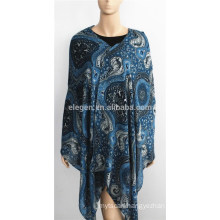 Blue Classic Floral Print Soft Wool Scarf with fringe
