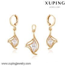 64046 Xuping wholesale imitation jewellery gold plated antique bridal sets