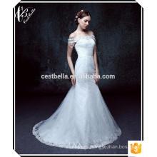 Impresionante sin mangas ver a través de espalda sirena piso de longitud de cuentas vestido de novia de encaje