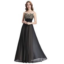 Kate Kasin Sleeveless V-Back Black Chiffon Long Prom Party Dress KK000189-1
