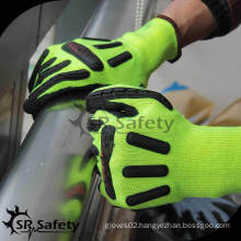 SRSAFETY 13G knitted polyester and glassfibre liner coated black latex machinist working gloves