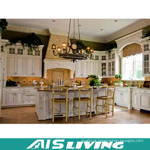 China A casa pré-fabricada luxuosa aloja o armário de cozinha em linha do PVC da unidade da cozinha da compra (AIS-K716)