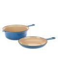 Multi function Skillet Saucepan Cast Iron 2qt 2 in 1 pan