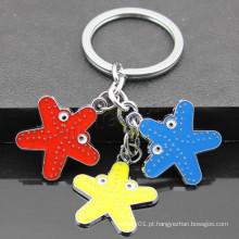 2016 starfish novo design em forma de liga de zinco esmalte chaveiro