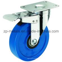 Среднего размера 3-дюймовый Двухосный синий PVC Рицинус колеса с тормозом