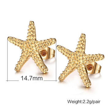 Elegant gold starfish stud earrings lovely ocean sea star earrings for women earrings jewelry