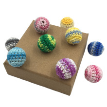 16/20MM Wooden Crochet Ball Colorful Wool Round Cotton Balls Baby Molar Necklace