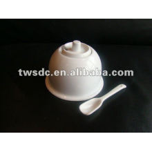Новый дизайн керамики/фарфор мило Сахар горшка с spoon-(MJ-022a)