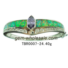 Jewelry-925 Sterling Silver Created Opal Bangle (YB00001)