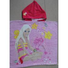 (BC-PB1019) Bonne qualité 100% coton Poncho de plage pour enfants Cutely