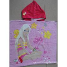 (BC-PB1019) Good Quality 100% Cotton Cutely Kids Beach Poncho