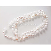 white clear crystal shell long beaded necklace Long Sweater Necklace