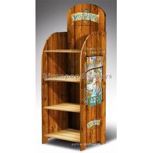 Магазин Деревянный Стеллаж Для Выставки Товаров Пива Рекламы 4-Слоев Изготовленный На Заказ Корпусная Тикового Дерева Винный Шкаф