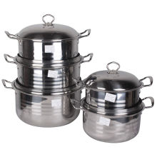 Polished Round Stainless Steel Stock Pot Set