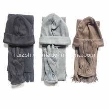 Chapéu de lã quente de três peças com lenços e luvas