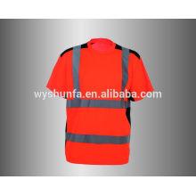 Fluoreszierendes Sicherheitst-shirt mit rundem Hals