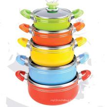10PCS Aluminum Non-Stick Cookware Set (LF1826-10)