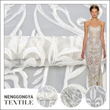 Casamento branco da tela de malha do bordado elegante do poliéster da qualidade superior