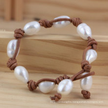 Freshwater Baroque Cultured Pearl with Leather Bracelet