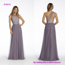 One-Shoulder-A-Line Brautjungfer Kleid mit Silber Metallic Lace Mieder