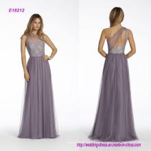 Одно плечо-line платье невесты с серебристый металлик кружевной лиф