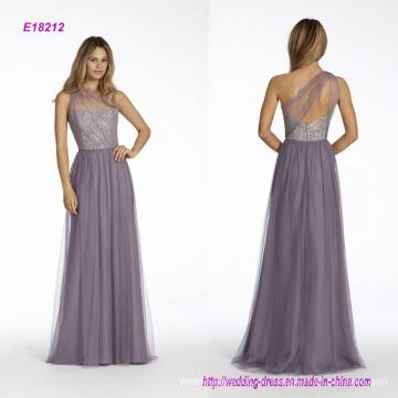 One-Shoulder-A-Line Brautjungfer Kleid mit Silber Metallic Lace Mieder