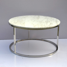 round marble top stainless steel coffee table