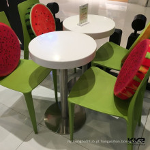 KKR real branco alto brilho mesa de centro em forma redonda