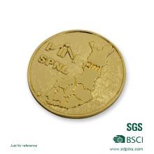 Metal em branco banhado a ouro em relevo personalizado moeda de desafio