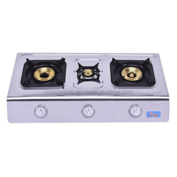 Stainless Steel Triple Burner Gas Stove, Blue Fire
