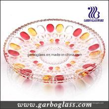 Plato de fruta de vidrio decorativo con color