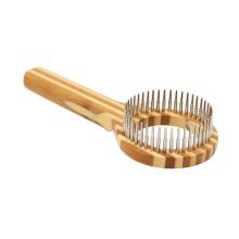 Pente de cabelo de gato para animais de estimação com cabo de madeira de bambu de luxo