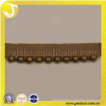Braid Gimp Trim con cuentas de oro Mental para sofá, almohada y decoración de textiles para el hogar