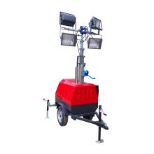 Night trailer lighting tower telescopic