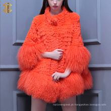 Meninas de moda nova Casaco de pele de cordeiro real Revestimento de pele de carneiro de peixe de Tibete