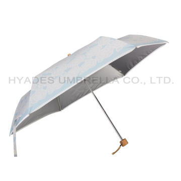 Ringan Dicetak Mini 3 Folding Umbrella
