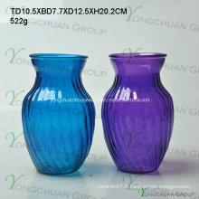 Vase en verre fabriqué à la main en verre stocké / vase en verre transparent