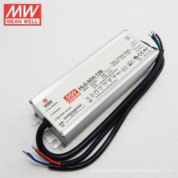 MEANWELL 90-305VAC Haute Entrée 12 V 5A avecA PFC Fonction IP67 60 W Dimmable LED Transformateur HLG-80H-12B