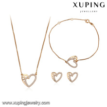 64107 new design fashion wedding gold jewelry set 18k delicate heart type earring bracelet and necklace gold plated sets