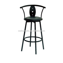 Backrest Bar Chair Metal Frame, Black Swivel Bar Chair with Cushion