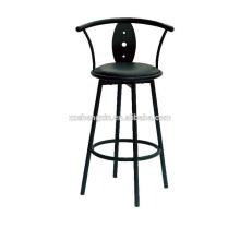 Cadeado de barra de apoio Bancada de metal, cadeira de barra giratória preta com almofada
