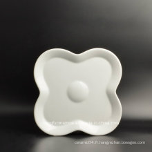 Assiette à dîner en porcelaine personnalisée en forme de fleur